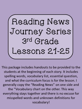 Reading News 3rd Grade Journey's Text Lessons 21-25