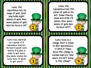 Common Core 3rd Grade- Lucky Math- Mixed Operations Word Problems  Task Card Kit