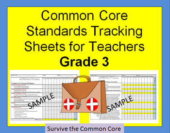 Tracking Sheets (EDITABLE) Common Core 3rd Grade Math by Domain/Cluster/Standard