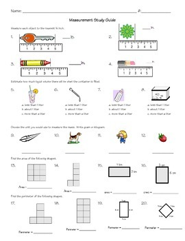Common Core 3rd Grade Measurement Study Guide and Test by Suzanne G