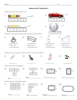 Common Core 3rd Grade Measurement Study Guide and Test