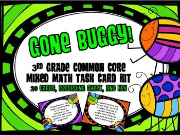 Common Core 3rd Grade- Mixed Math Task Card Kit- Insect Facts