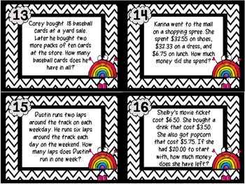 Common Core 3rd Grade Multi Step Word Problem Task Cards