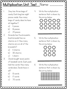 Common Core 3rd Grade- Multiplication Assessment- Arrays, Groups, Number Line