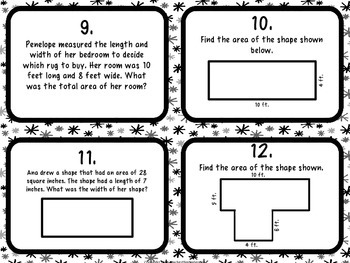 Common Core 3rd Grade- Perimeter and Area Review Task Card Kit