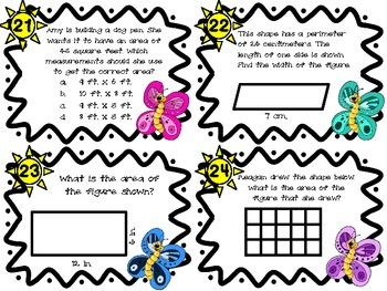 Common Core 3rd Grade- Perimeter and Area Task Cards
