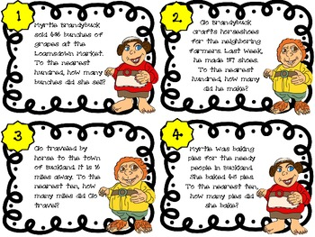 Common Core 3rd Grade-Rounding Task Cards-Halfling Edition
