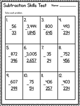 common core 3rd grade subtraction assessment regrouping word problems. Black Bedroom Furniture Sets. Home Design Ideas