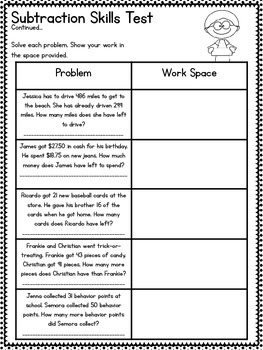 common core 3rd grade subtraction assessment regrouping. Black Bedroom Furniture Sets. Home Design Ideas