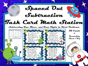 Common Core 3rd Grade-Subtraction Task Card Center-Spaced Out!