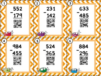 Common Core 3rd Grade-Subtraction With Regrouping QR Task Cards- 3 Digit Numbers