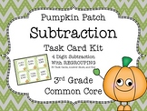 Common Core 3rd Grade-Subtraction with Regrouping Task Cards-4 digit numbers