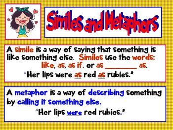 Common Core 3rd Grade Up Mighty Metaphors, Super Similes Interactive PPT