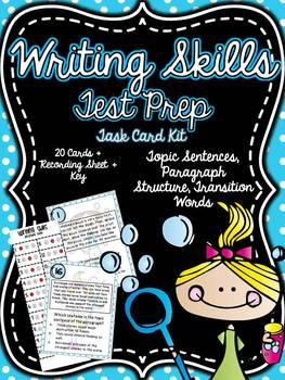 Common Core 3rd Grade- Writing Skills Test Prep Task Card Kit
