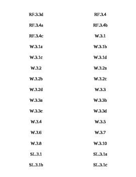Common Core 3rd grade ELA/Math Tabs
