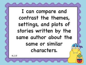 """Common Core 3rd grade Monsters Theme """"I can"""" statement learning goals"""