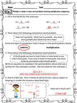 Common Core 4.OA.2 {Multiplicative Comparisons Assessment & Rubrics}