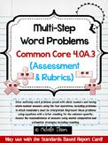 Common Core 4.OA.3 {Multi-Step Word Problems Assessment & Rubrics}