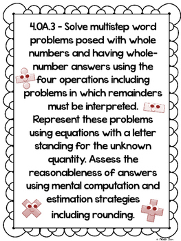 Common Core 4.OA.3 {Multi-Step Word Problems Assessment & Rubrics}