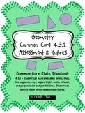 Common Core 4.G.1 {Geometry Assessment & Rubrics}