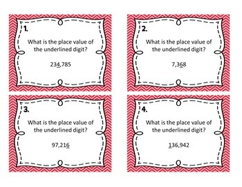 Common Core 4.NBT.1, 4.NBT.2, 4.NBT.3 - Place Value Task Cards