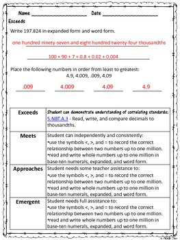 Common Core 4.NBT.2 {Read, Write, and Compare Numbers Assessment & Rubrics}