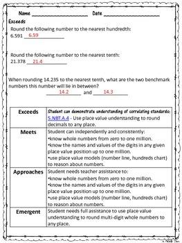 Common Core 4.NBT.3 {Rounding Assessment & Rubrics}