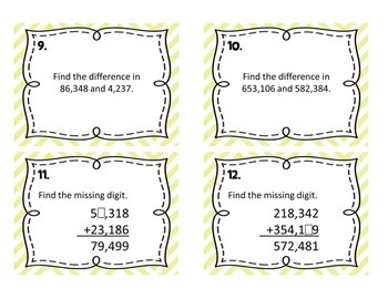 Common Core 4.NBT.4 - Whole Number Addition & Subtraction Task Cards