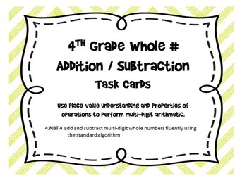 Common Core 4.NBT.4 - Whole Number Addition & Subtraction