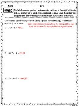 Common Core 4.NBT.6 {Division Assessment & Rubrics}