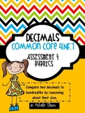Common Core 4.NF.7 {Fraction and Decimal Assessments & Rubrics}