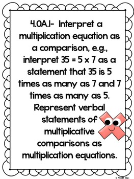 Common Core 4.OA.1 {Multiplication Assessment & Rubrics}