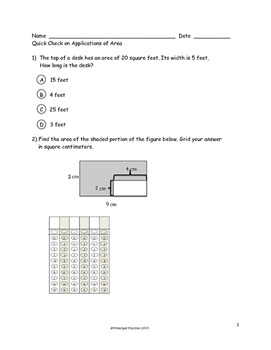 Common Core 3rd Grade Concepts and Applications of Area Measurement Quick Checks