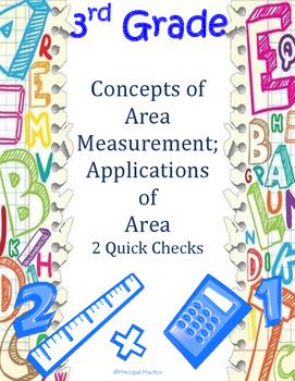 Common Core 3rd Grade Concepts and Applications of Area Measurement Quick Checks