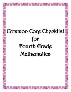 Common Core: 4th Grade Math Checklist