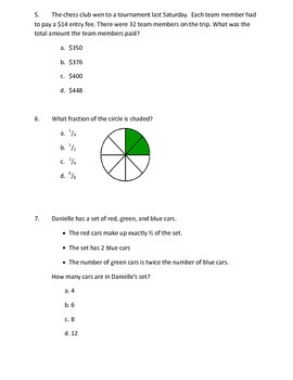 Common Core 4th Grade Math Practice EOG