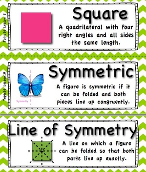 Common Core 4th Grade Math Vocabulary Cards - Lime