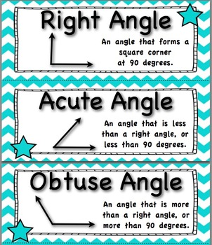 Common Core 4th Grade Math Vocabulary Cards - Teal