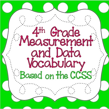 Common Core 4th Grade Measurement & Data Vocabulary Posters & Flash Cards