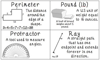 Common Core 4th Grade Measurement & Data Vocabulary Posters & Flash Cards