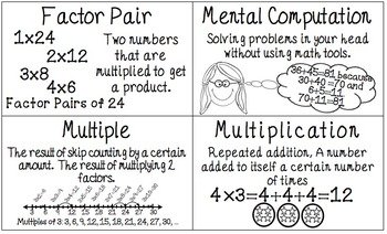 CCSS 4th Grade Operations & Algebraic Thinking Word Wall Posters & Flash Cards