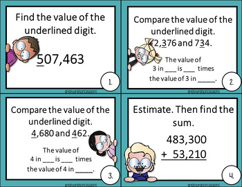 4th Grade Math Center Place Value Addition and Subtraction Game