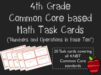 Common Core 4th Grade Task Cards - Numbers and Operations in Base Ten