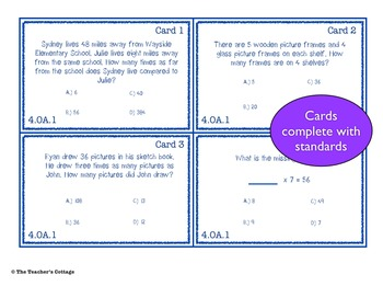 Common Core 4th Grade Task Cards - Operations & Algebraic Thinking and Geometry