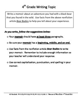 Fourth Grade Writing Prompt:  Fast Facts:  Black Bears