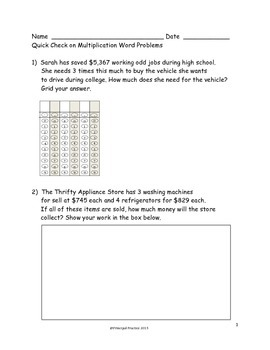 Common Core 4th grade Multiplication (4 Digits by Single Digits)