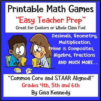 """TEN"" 4th, 5th, & 6th Grade Math Games and Centers,  Easy Prep"