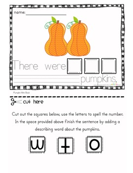 Common Core 5 Little Pumpkins a mini book on number words and adjectives