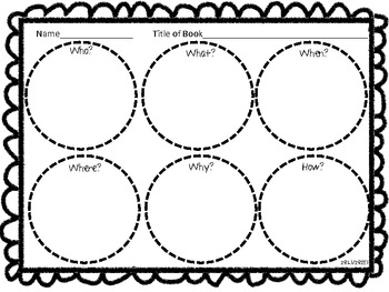 Common Core 5 W's and an H Graphic Organizer