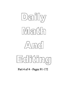 Common Core 5th Daily Math Spiral Review and Editing Part 4 of 4